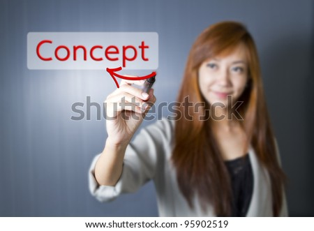 Young women write Concept word. - stock photo