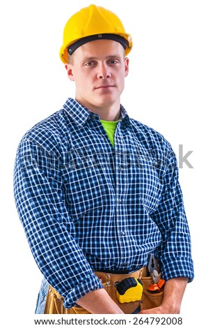 young worker looking at camera portrait isolated on white  - stock photo