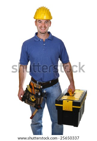 young worker man with tool box isolated on white background - stock photo