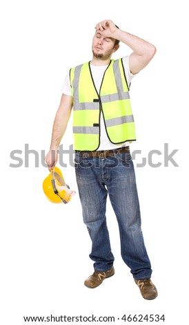 young worker over white background - stock photo