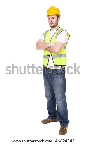 young worker over white background