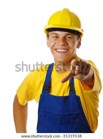 Young worker pointing at you and smile, isolated over white - stock photo