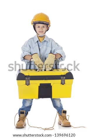 Young Worker with tool box - stock photo