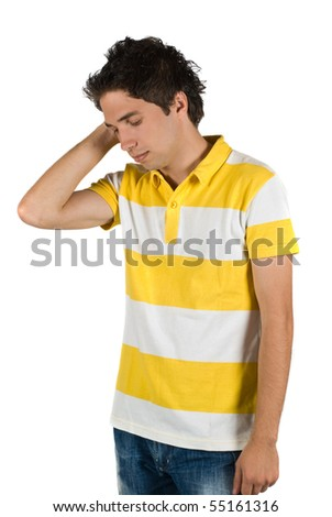Young worried man or maybe having a headache isolated on white background - stock photo
