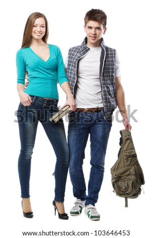 Young Young beautiful couple isolated on white background