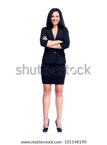 Young Young business woman. Isolated on white background. - stock photo