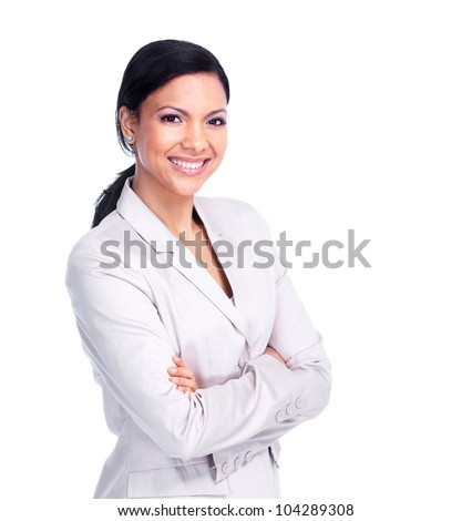Young Young business woman. Isolated on white background.