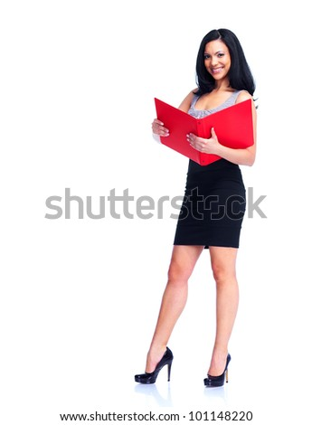 Young Young business woman with folder. Isolated on white background. - stock photo