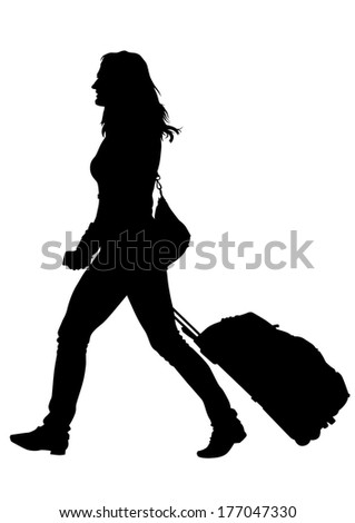 Younge women whit travel big suitcases - stock photo