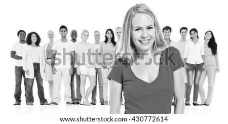 Your Adult Woman Standing Crowed Concept