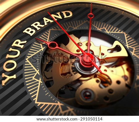 Your Brand on Black-Golden Watch Face with Closeup View of Watch Mechanism. - stock photo
