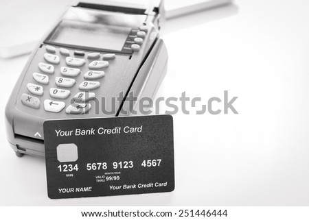 Your Credit Card With Credit Card Machine - stock photo