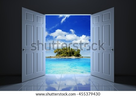 Your doorway to the tropical island, 3D illustration - stock photo