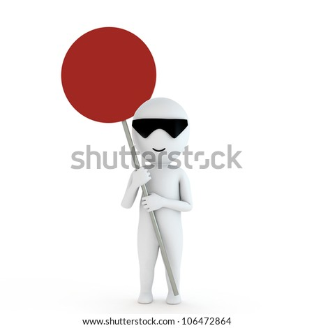 your empty board with 3d human in white background - stock photo