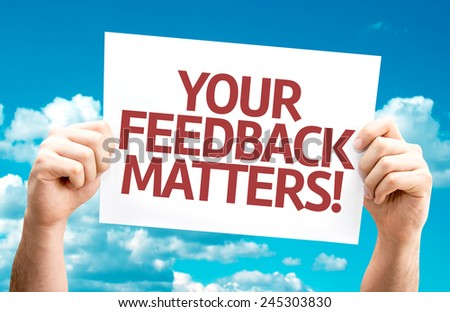 Your Feedback Matters card with sky background - stock photo