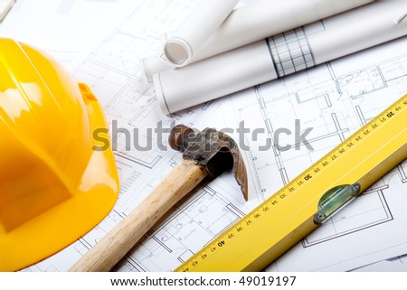 Your home project. keys, colors, architecture project and tools - stock photo