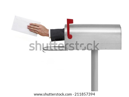 Your mail, please Metallic mailbox on white background - stock photo