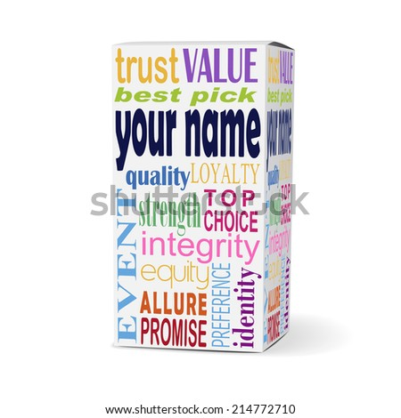 your name words on product box with related phrases - stock photo