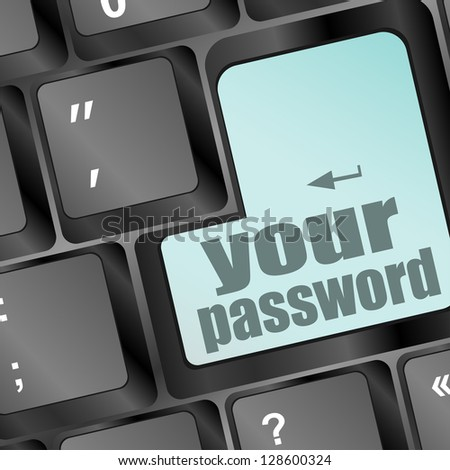 your password button on keyboard - security concept, raster - stock photo
