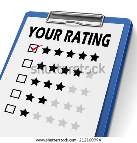 your rating clipboard with check boxes marked for stars - stock photo