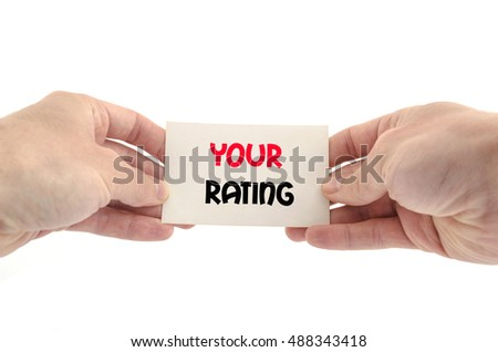Your rating text concept isolated over white background