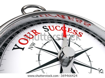 Your success motivation message on concept compass, isolated on whtie background
