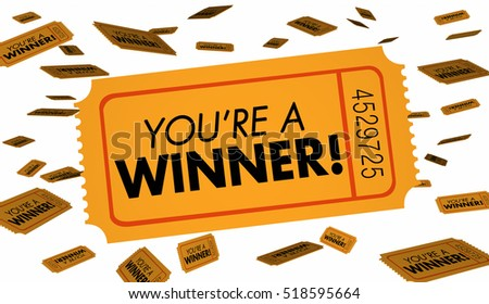 Youre a Winnter Raffle Lottery Tickets Luck 3d Illustration