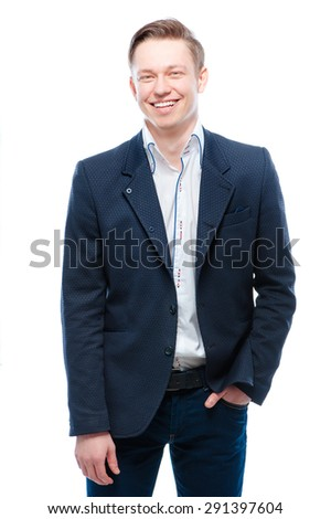 Youth and confidence. Handsome young business man looking at camera. Isolated on white. - stock photo