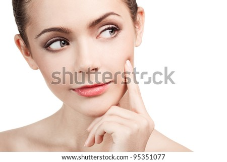 Youth beautiful woman. Looking on copyspace - stock photo