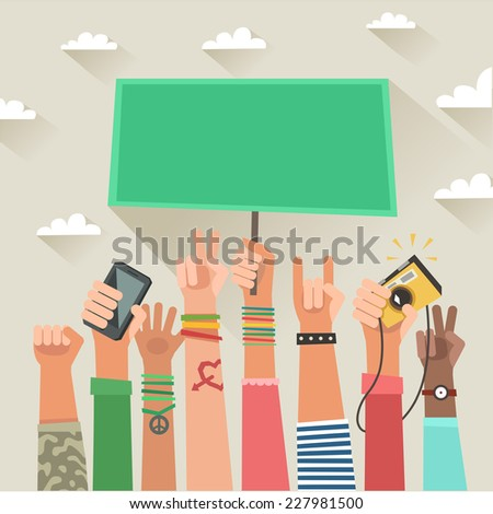 Youth crowd with placard and space for text. Manifesting new generation crowd. A lot of hands of young people with different gestures. Colorful banner in flat style - stock photo