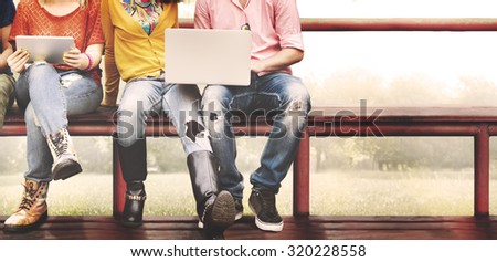 Youth Friends Friendship Technology Together Concept - stock photo