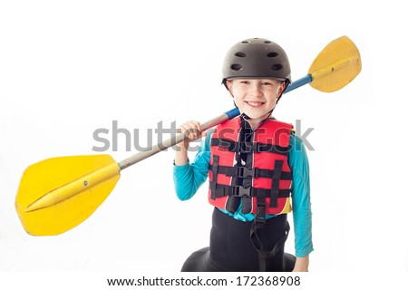 Youth kayak paddler - stock photo