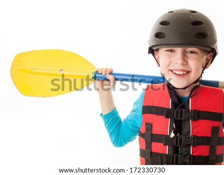 Youth kayaking portrait - stock photo