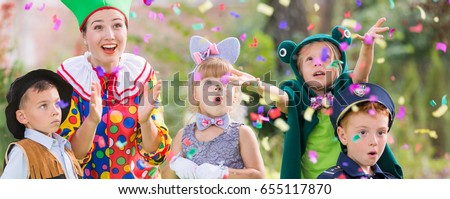 Youth leader celebrating party with children