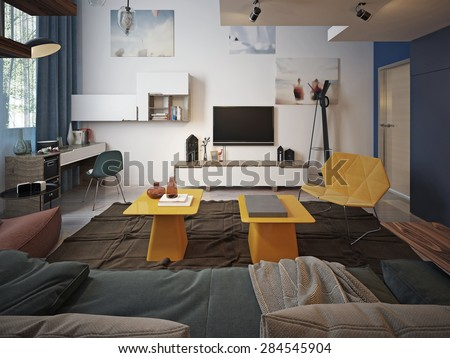Youth room Contemporary style. 3d render