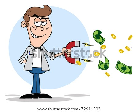 Youth Using A Magnet To Attracts Money - stock photo