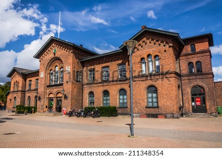 YSTAD, SWEDEN - AUGUST 15, 2014: Railway station partially used as a hotel. In the well-known series based on Henning Mankell's novels about inspector Wallander, building  served as a police station