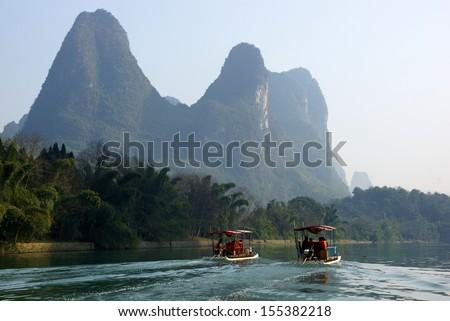 Yu Long river landscape in Yangshuo, Guilin, Guanxi province, China - stock photo