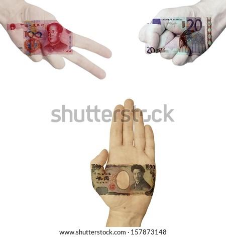 Yuan Euro Dollar rock-paper-scissors - stock photo