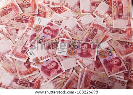 Yuan notes from China's currency. Chinese banknotes. - stock photo