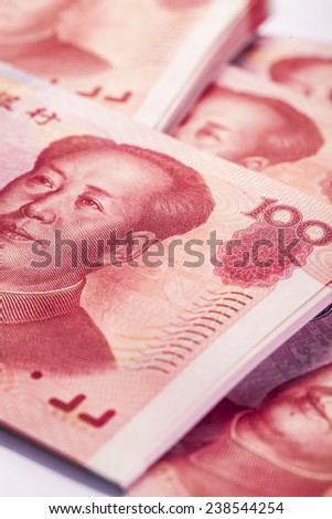 Yuan notes from China's currency. Chinese banknotes