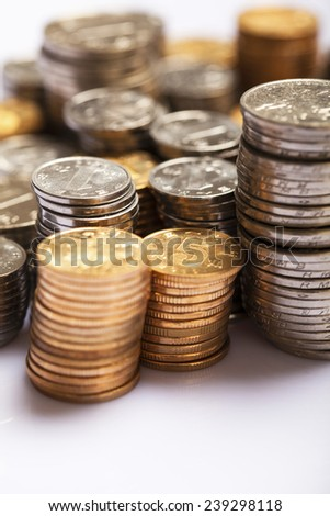 Yuan notes from China's currency. Chinese banknotes. Chinese coins - stock photo