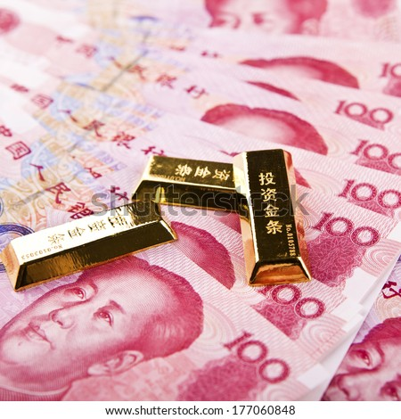 Yuan notes from China's currency. Chinese banknotes.  Gold  - stock photo