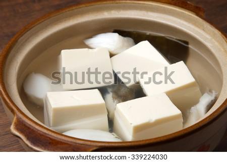 yudofu, boiled tofu, tofu hot pot - stock photo