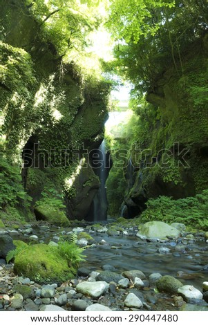 Yufugawa valley of attractions of Japan - stock photo