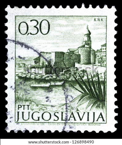 "YUGOSLAVIA - CIRCA 1972: A stamp printed in Yugoslavia shows city view of Krk, with the same inscription, from series ""Yugoslavia city views "", circa 1972"
