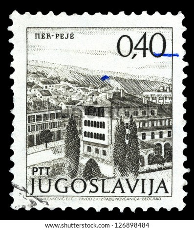 "YUGOSLAVIA - CIRCA 1972: A stamp printed in Yugoslavia shows city view of Per Peje, with the same inscription, from series ""Yugoslavia city views "", circa 1972"