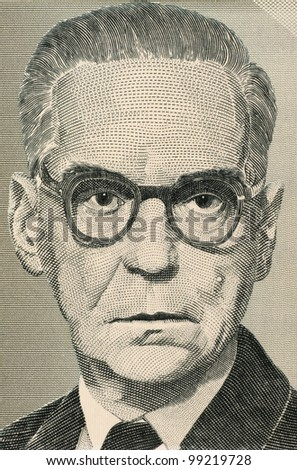 YUGOSLAVIA - CIRCA 1994: Ivo Andric (1892-1975) on 10 Million Dinara 1994 Banknote from Yugoslavia. Novelist, short story writer, and the 1961 nobel prize winner in literature.