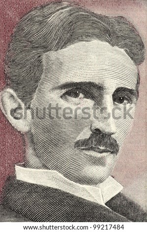 YUGOSLAVIA - CIRCA 1994: Nikola Tesla (1856-1943) on 5 Novih Dinara 1994 Banknote From Yugoslavia. Best known as the Father of Physics. - stock photo
