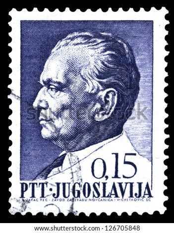 "YUGOSLAVIA - CIRCA 1967: Stamp printed in Yugoslavia shows a portrait of Yugoslavian President Josip Broz Tito, without inscription, from series ""75th birthday of President Josip Broz Tito"" circa 1967"